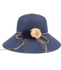 cappello da pescatore per parasole per esterni cappello da spiaggia pieghevole in paglia tinta unita estiva da donna