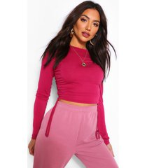 crew neck ruched side long sleeved top, terracotta