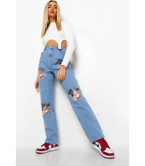 kerub spijkerbroek met hoge taille en rechte pijpen