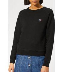maison kitsuné women's sweatshirt tricolor fox patch - black - l