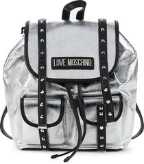 love moschino women's studded canvas backpack - silver black