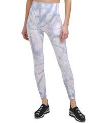 dkny sport women's tie-dyed 7/8 leggings