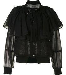 enföld semi sheer frill jacket - black