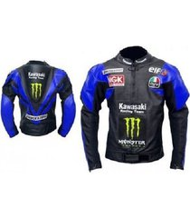 new kawasaki ninja handmade blue racing leather motorcycle jacket