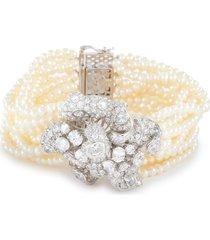 'bloomingdale' diamond freshwater pearl multi chain bracelet