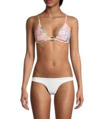 letarte women's floral-print bikini top - pink floral - size xs