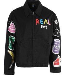 black multicolored gas jacket