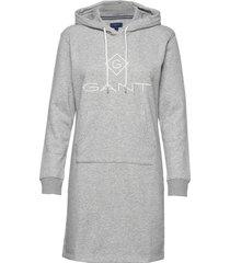 gant lock up hoodie dress korte jurk grijs gant