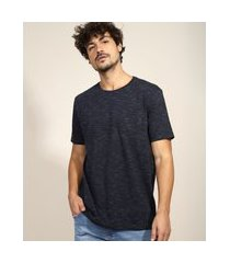 camiseta masculina básica com bolso manga curta gola careca azul marinho