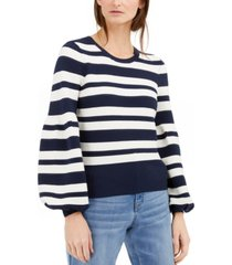 inc petite striped balloon-sleeve sweater, created for macy's