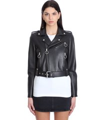 off-white biker jacket in black leather