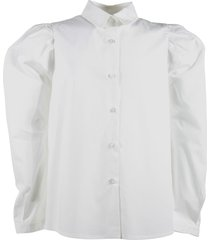 simonetta white pleated detail cotton poplin shirt
