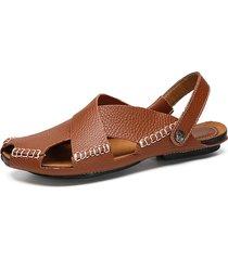 sandali casual da uomo con cinturino regolabile in vera pelle