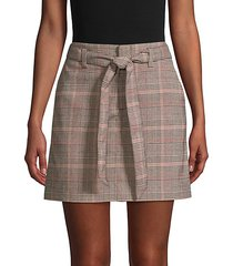 tie-front plaid mini skirt
