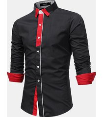 abito da uomo casual turn turn patch sottile fit camicia