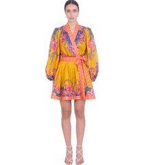 zimmermann dress in multicolor linen