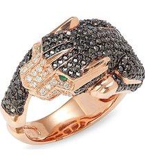 effy women's 14k rose gold, black & white diamond & emerald panther ring - size 11