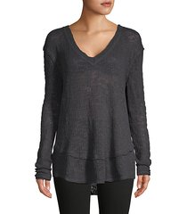 high-low cotton sweater