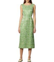 women's sandro floral cutout detail sleeveless linen & silk dress, size 8 us - green