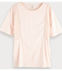 maison scotch 150158 45000 jersey top with woven panels and ladder tape rood