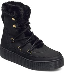 tommy warm lined lace up bootie shoes boots ankle boots ankle boot - flat svart tommy hilfiger
