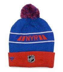 authentic nhl headwear new york rangers 2020 locker room pom knit hat