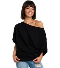 blouse style s153 fit and flare v-hals jurk - zwart