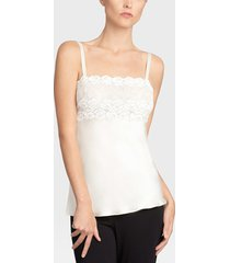 rose parfait camisole with lace, lingerie, women's, white, 100% silk, size m, josie natori