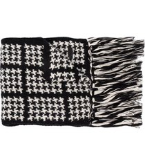 saint laurent houndstooth knitted scarf