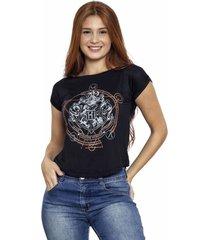 camiseta sideway harry potter logo - preta