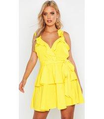 plus skater jurk met ruches en ceintuur, yellow