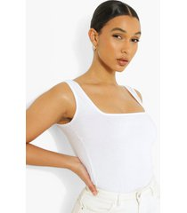 katoenen hemd met vierkante hals, white