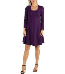 24seven comfort apparel women's simple long sleeve knee length flared dress