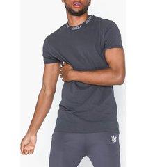 siksilk short sleeve high collar logo tee t-shirts & linnen grey