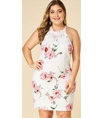 yoins plus size white  lace insert random floral print dress
