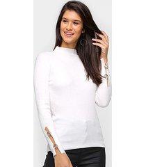 tricô top modas gola alta básico feminino - feminino