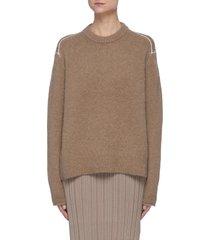 contrast shoulder seam sweater