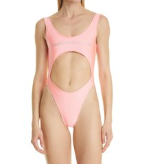 alexander wang logo cutout one-piece swimsuit, size x-large in bright pink at nordstrom