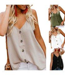 moda para mujer con cuello en v chaleco sin mangas camisa botón-beige
