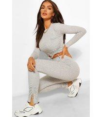 geribbelde top en legging set met ruches, grijs