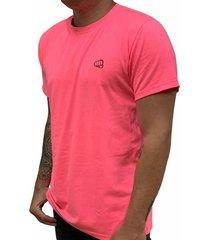camiseta básica small logo rosado neón fist hombre