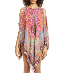 women's etro floral print cover-up poncho