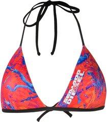 diesel x sea-doo camo-fish print bikini top - orange