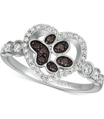le vian nude & blackberry diamond paw print heart ring (3/8 ct. t.w.) in 14k white gold