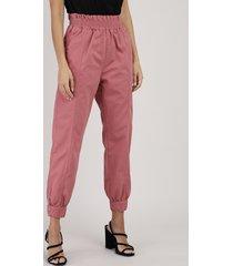calça de sarja feminina jogger cintura alta rosa escuro