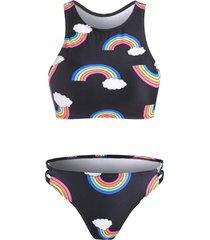 low waist rainbow print bikini set