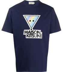 maison kitsuné rainbow triangle fox print t-shirt - blue