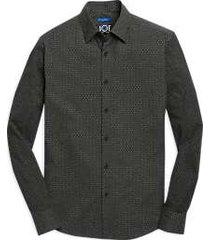 joe joseph abboud charcoal dot woven & knit slim fit sport shirt
