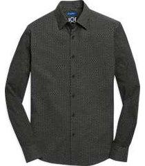 joe joseph abboud charcoal dot woven & knit sport shirt