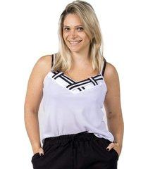 blusinha regata branca trançada - kanui